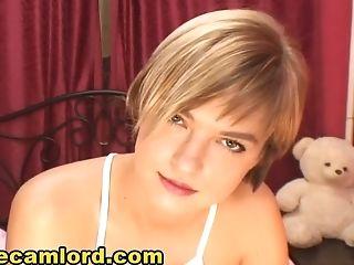Skinny Blonde Nubile Taunting Her Self