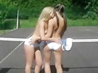 Women Making Out On The Tennis Court