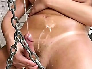 Decadent Sandy-haired Shemale Uncovers Lovely Funbags And Squirts Jizz