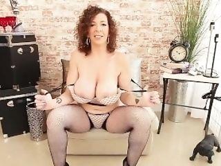 Horny Hot Cougar Sara Jay Fuck Stick Bangs In Fishnets & High Stilettos