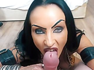 Blue- Eyed Black-haired Is Getting On All Fours On The Floor And Sucking Dick, Like A Real Pro