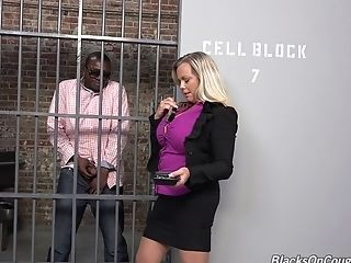 Big Tits Blonde Lawyer Gets Fucked By Her Black Customer In Jail