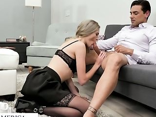 Erotic lingerie secretary double blowjob