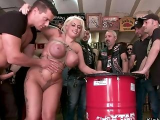 Monster Tits Alt Blonde Bangs In Biker Bar