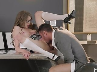 Sexy Youthful Damsel In Lengthy Milky Socks Takes A Lollipop At Work