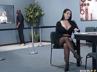 Bombshell Assistant Angela Milky Pounded By A Black Dick And Slurps Jism