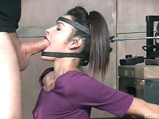 Black-haired Bi-atch With Pink Lip Liner Eden Sin Fed Pipe In Her Open Mouth
