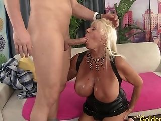 Floppy Titted Grand-ma Mandi Mcgraw Fucks A Bald Fellow Until He Pops In Her Mouth