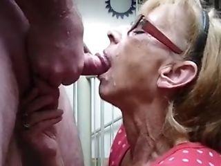 Grandmother Gets Facial Cumshot