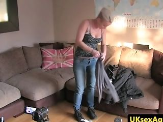 Inexperienced Uk Stunner Jizzed On Tits At Sexaudition