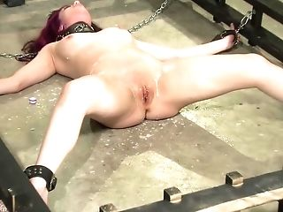 Chained Up Teenager Sub Dame Gets Coochie Tantalized By Ginormous Fucktoys