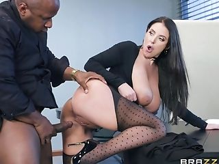 Angela Milky Spreads Her Gams For A Friend's Black Dick On The Table