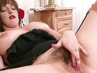 Dark Haired Lady Matures Nylon And Money Shot