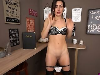 Unshod Waitress Laura Takes Off Brassiere And Shows Diminutive Tits And Tattoos