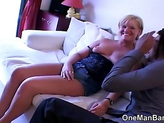 Older English Blondes First-ever Time With A Black Man