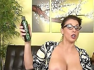 Big-titted Auntie Strokes The Dick Before Putting It In Her Warm Cunt