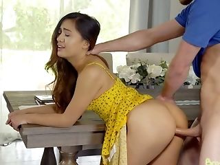Lovely Asian Stepsister Elle Voneva Gives A Blowage And Takes A Dick In Moist Poon