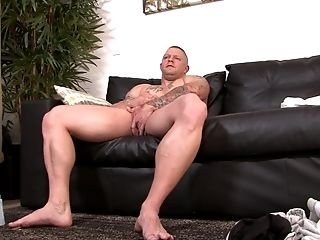 Bald Jacked Up Fag Boy In A Solo Getting Off Session With A Popshot